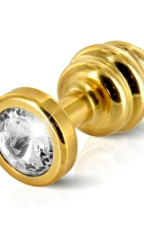 Diogol - Ano Butt Plug Ribbed Gold Plated 25 mm