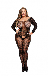 Baci - Longsleeve Crotchless Bodystocking Queen Size